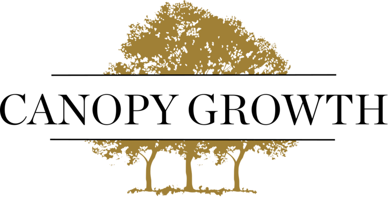 Canopy Growth logo with black text over white background and three brown trees behind; highlighting Valens partners