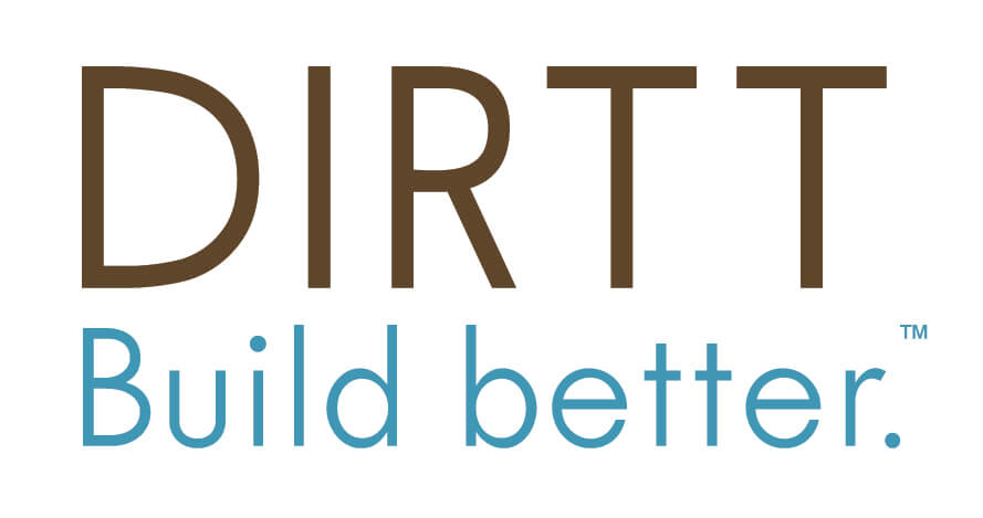 Text logo for DIRTT with tagline Build Better