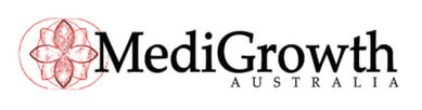 Black text MediGrow Australia logo with red flower symbol
