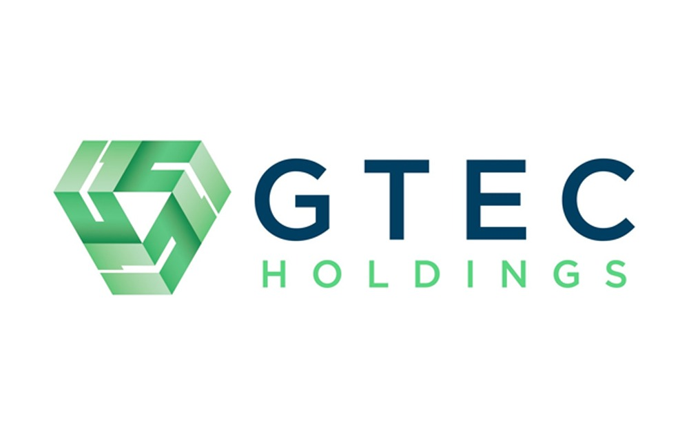 GTECH Holdings Logo with dark blue text for GTEC and bright green for holdings with a green symbol