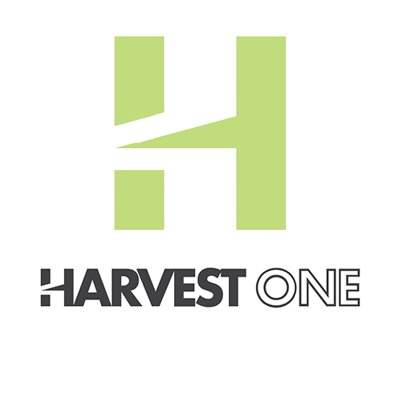 Harvest One Logo with a bright green H and Black Harvest One text underneath