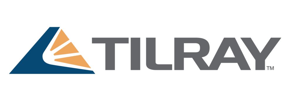 Tilray Logo of Grey text with blue and orange symbol of sun