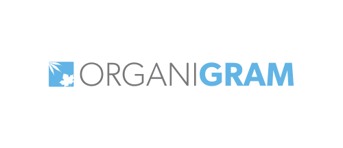 Organigram Logo with Blue square symbol of leaf and sun with black and blue text