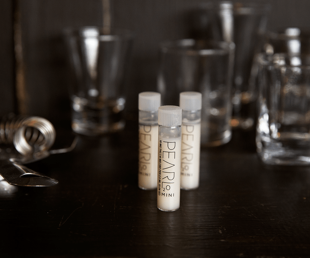 Three Vials of Pearl, a cannabis beverage infusion using SoRSE Technology