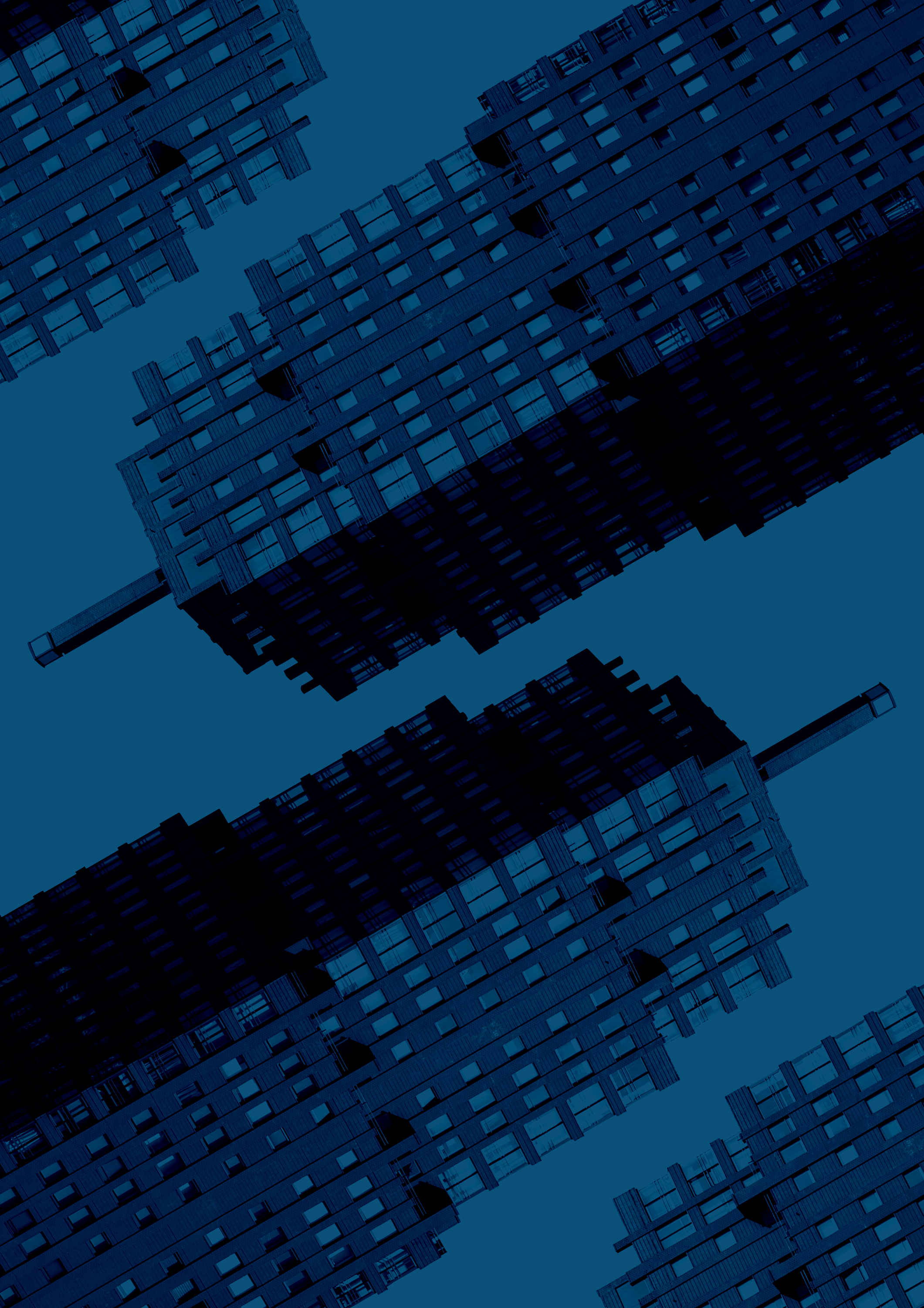 Duotone highrises in blue and angled to create a pattern for the Valens Investors page