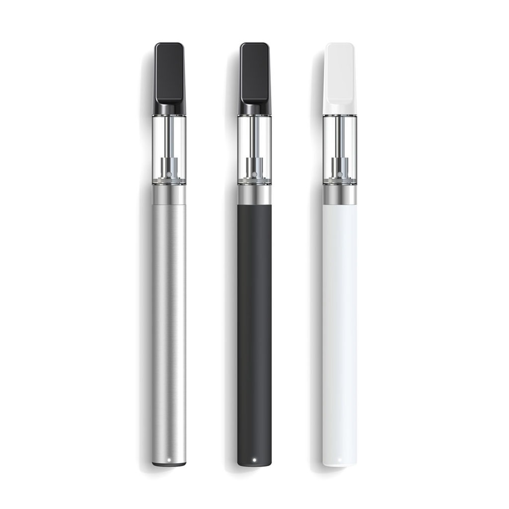Three Valens Vape Pens in silver, black, and white