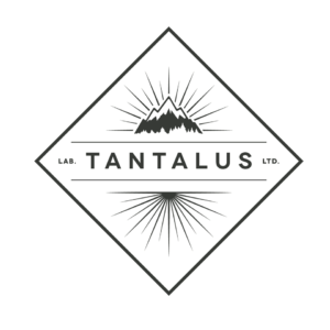 Tantalus Labs Logo in black and white, with sun rays and a mountain